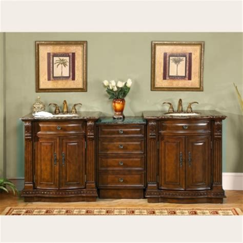 84 Inch Large Double Sink Vanity with Baltic Brown Counter