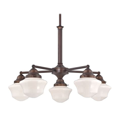 Schoolhouse Lighting Fixtures Schoolhouse Chandelier With Five Lights In Bronze Finish Ca5 220 Gc6 Destination Lighting
