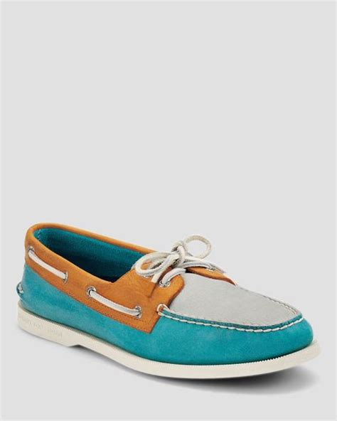 timberland boat shoes turquoise sperry top sider 2eye burnished color block boat shoes in