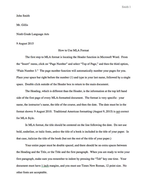 Mla Format Essay High School | image gallery mla formatting