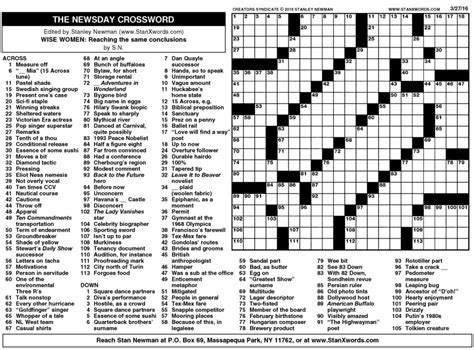 Newspaper Section Crossword by Newsday Crossword Sunday For Mar 27 2016 By Stanley