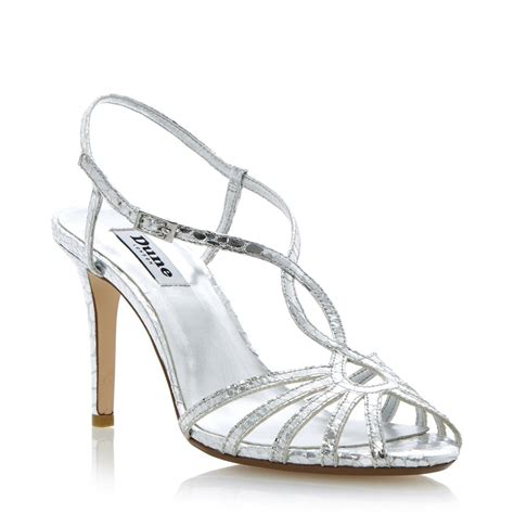 silver heeled sandals dune heloise womens silver strappy stiletto heel