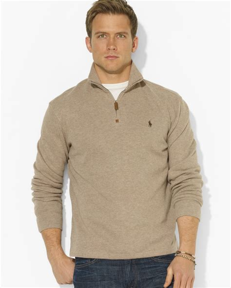 Sweater Polos ralph polo frenchrib halfzip mockneck pullover sweater in for lyst
