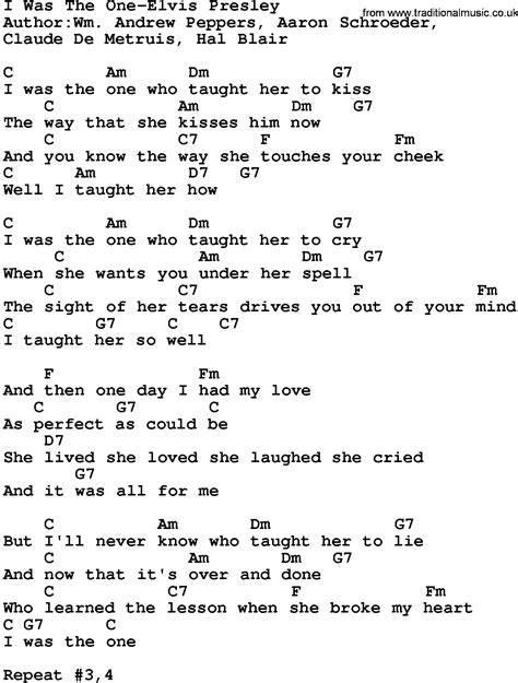 printable elvis lyrics country music i was the one elvis presley lyrics and chords