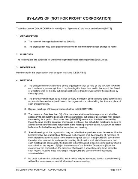 Bylaws Not For Profit Corporation Template Sle Form Biztree Com Bylaws Template