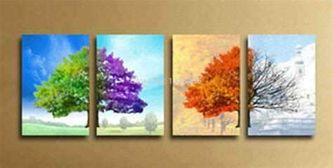 deep south four seasons wholesale hand painted modern 4 seasons tree wall art abstract oil painting on canvas home decor