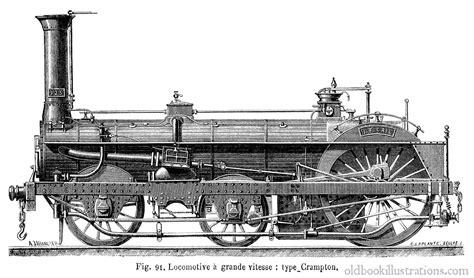 Drawing Blueprints locomotive 224 vapeur de type crampton 187 old book