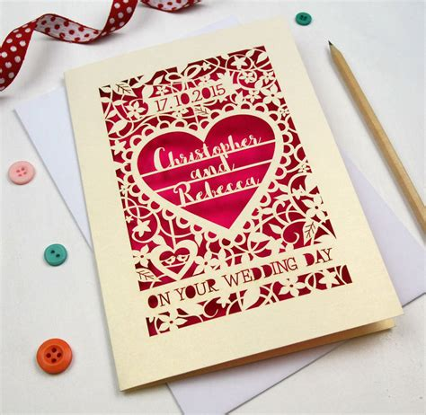 cards template looking personalised papercut on your wedding day card by