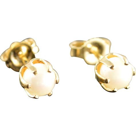 Of Pearl Yellow Earrings 14k 5 mm pearl stud earrings yellow gold sold on ruby