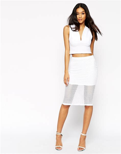 asos pencil skirt in wide mesh texture with mini