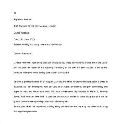 Invitation Letter Format For Visa Sle Invitation Letter For Us Visa 9 Free Documents In Pdf Word