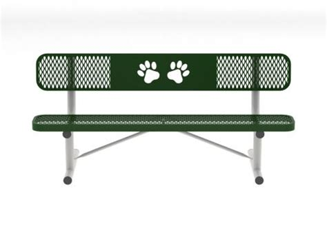 dog park benches 6 ft expanded metal dog park paw bench with back commercial site furnishings