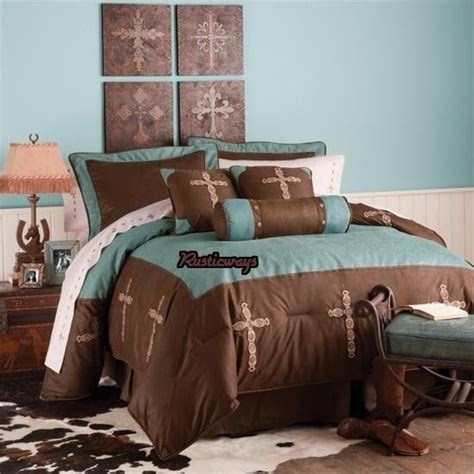 Western Bedroom Sets by New Western Rustic Turquoise Cross Comforter Bedding