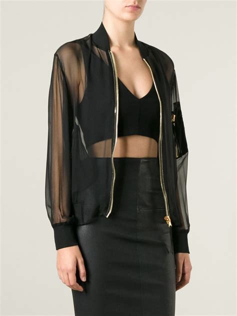 lyst moschino sheer bomber jacket in black