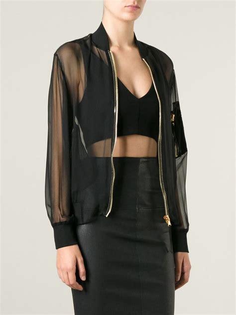 Moschino Bomber Jacket lyst moschino sheer bomber jacket in black