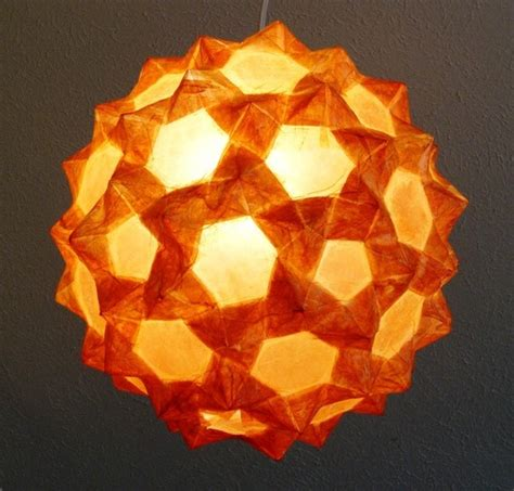 Origami Lanterns - large orange 14 inch origami sphere ceiling lantern