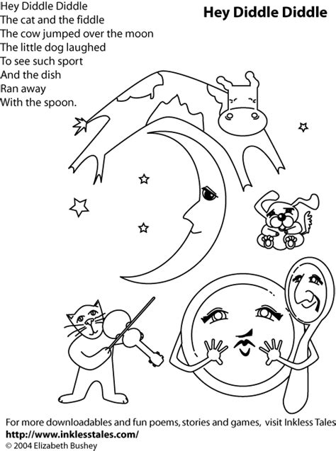free coloring pages of cow jumped over the moon