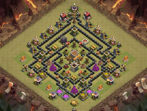 coc layout anti gowipe th8 powerful th8 war base anti gowipe anti hogs anti dragon