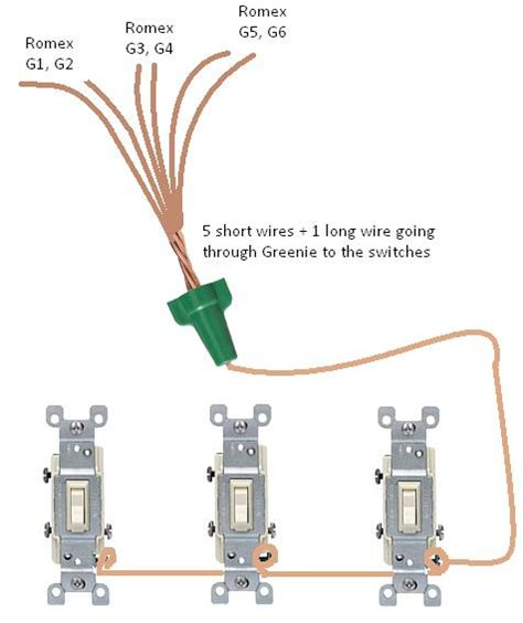 connecting electrical wires connecting 6 ground wires together then to 3 switches