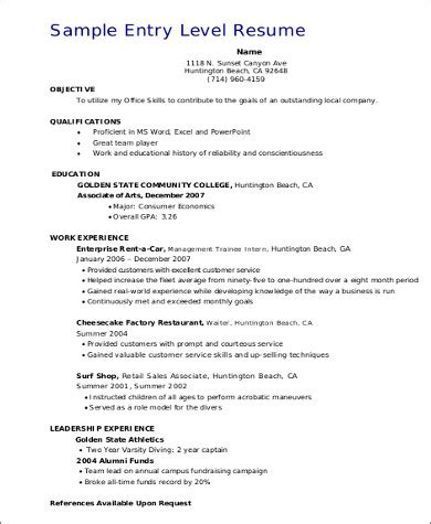 sle resume entry level resume exles entry level sales resume objective