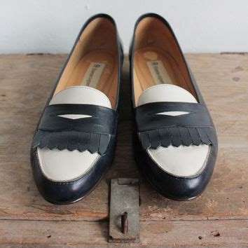 preppy loafers vintage 80s navy white preppy from vauxvintage on etsy