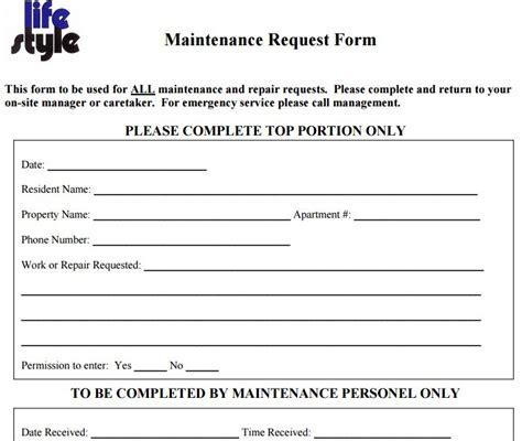apartment maintenance request form template maintenance request form template apartment maintenance