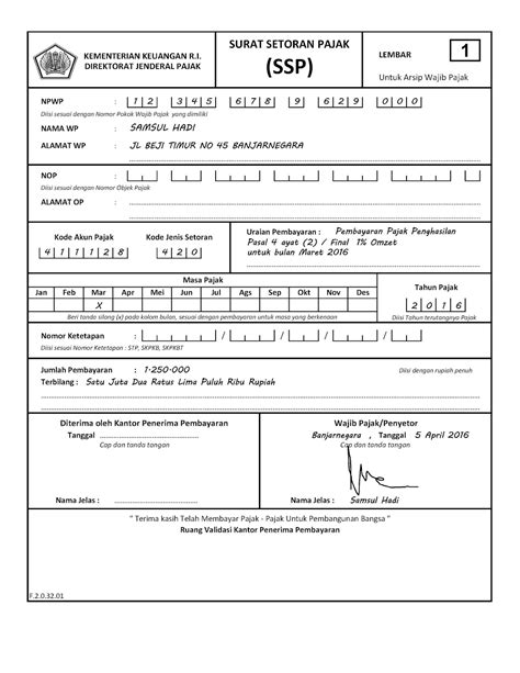 pajeg lempung contoh pengisan surat setoran pajak ssp