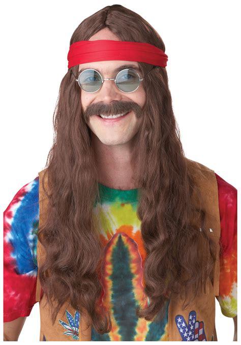 male hippie hair hippie man wig and mustache