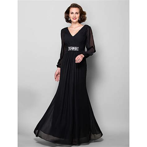Sleeve Floor Length Black Dress by A Line Plus Sizes Of The Dress