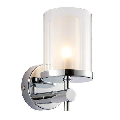 wide chrome ip44 bathroom light endon 51885 britton ip44 18w chrome effect plate and