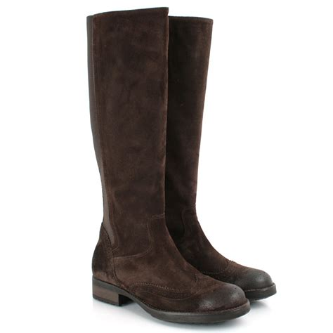 daniel brown suede potent womens flat knee boot