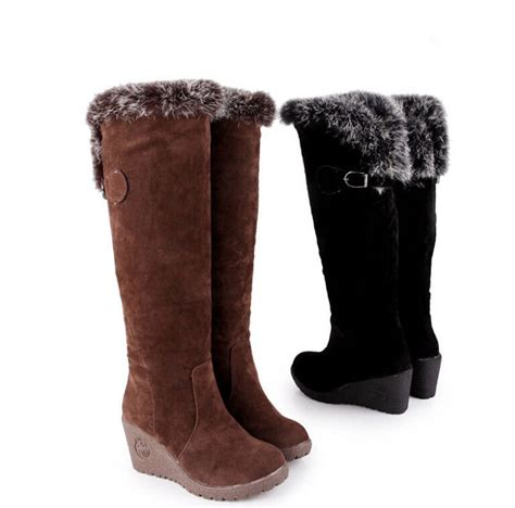 fashion womens fur top new wedge heel winter pull on snow