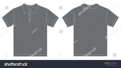 vector illustration of grey polo shirt isolated front and