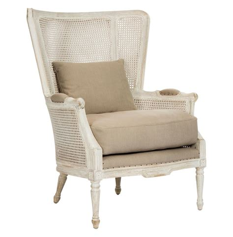 Archdale Recliner by Archdale Style Caned Back Antique White Wing Salon
