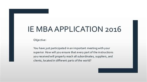 Most Important Aspects Of Mba App by Ie Mba Application Question F