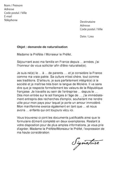 Exemple De Lettre De Demande De Lettre De Recommandation lettre de demande de naturalisation mod 232 le de lettre