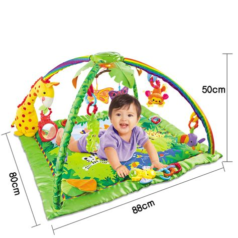 Mainan Bayi Play Happy Baby Fitness Frame With Keyboard 698 7 rainforest baby activity play mat sound light baby educational fitness frame multi
