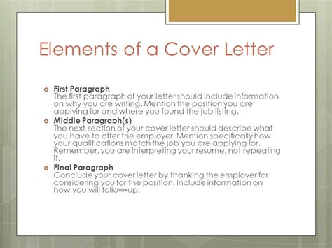 4 Letter Elements application letter cover letter ppt