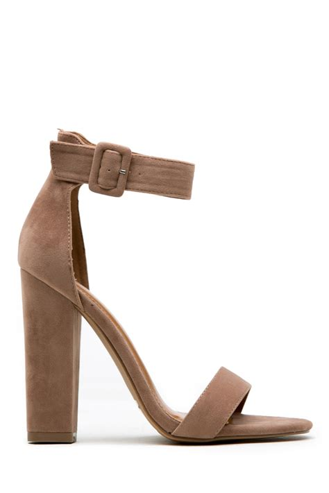 taupe color heels taupe faux suede chunky ankle heels cicihot heel