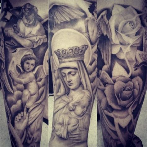 best religious sleeve tattoos amazing religious sleeve by lalo pena lalo pena s amazing