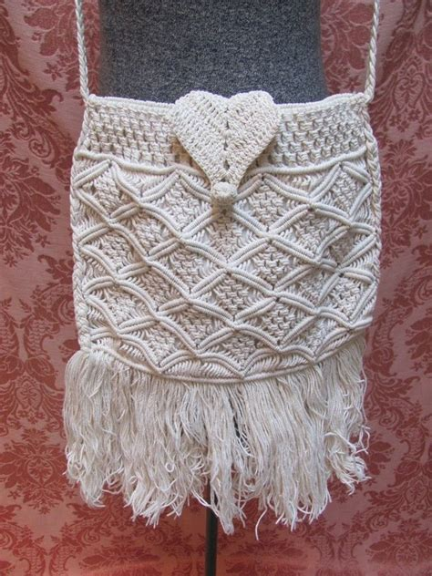 Macrame Knitting - 1970 s hippie boho macrame knit fringe purse 45 wildrose