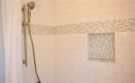 white bathroom tile designs pics for gt white subway tile shower niche