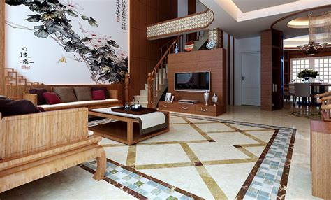 home design villa living room design with bar interior chinese modern villa living room design rendering