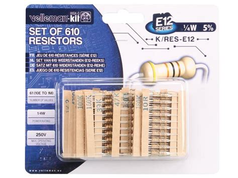 velleman e12 series resistors velleman k res e12 pack of 610 resistors e12 series kit quasar uk