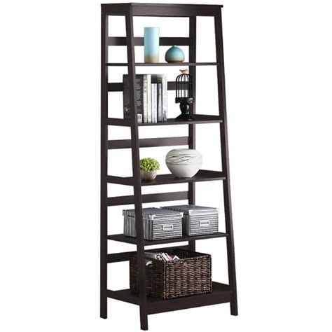yaheetech 5 tier wood leaning ladder shelf bookcase