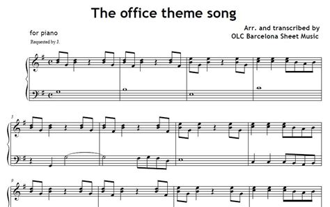 theme songs of the office theme song piano sheet music