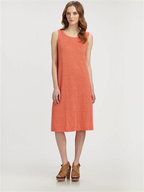 Striped Tank Dress lyst eileen fisher striped linen tank dress in orange