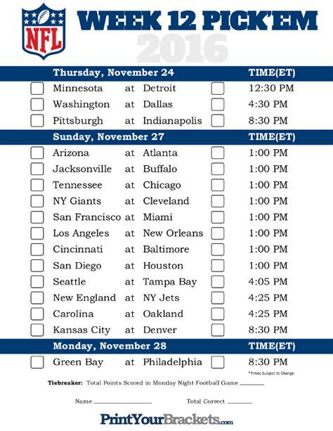 Office Football Pool Picks Free Printable Nfl Week 12 Schedule Em Office Pool 2016