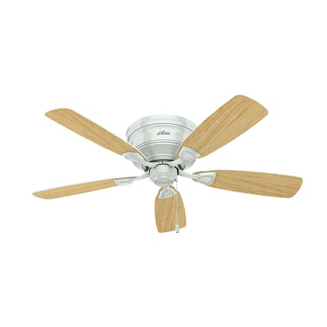 Low Profile White Ceiling Fan With Light 52062 Low Profile White Light Oak Fluorescent 48 Quot Ceiling Fan 52062
