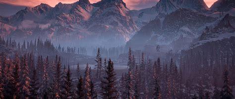 horizon  dawn nature mountains trees sky hd  wallpaper
